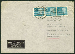 GERMANY: Cover Sent From Furth To Argentina On 25/AP/1951, Franked With DM. 1.50 (Bizone Michel 92 X3), VF Quality! - Sin Clasificación