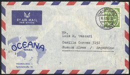 GERMANY: Airmail Cover Franked By Mi.138 ALONE, Sent From Hamburg To Argentina On 16/MAY/1952, Excellent Quality, Catalo - Sin Clasificación