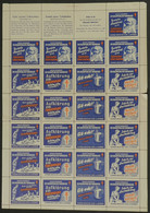 GERMANY: FIGHT AGAINST TUBERCULOSIS: 1951 Issue, Complete Sheet Of 5 Sets With 3 Labels, MNH, VF Quality (some Perforati - Otros