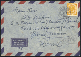 WEST GERMANY: Airmail Cover Franked By Michel 136 ALONE, Sent From Wiesbaden To Rio De Janeiro On 27/JUL/1953, VF! - Sin Clasificación