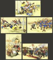 WORLDWIDE: COMIC, FOOTBALL: 5 Postcards Of Very Fine Quality, Very Nice! - Mundo