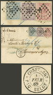 BELGIUM: PAQUEBOT BELGE: 27/JA/1869 Liege - Buenos Aires, Folded Cover Franked With 20c + 40c + 1Fr. Stamps, With Numera - Non Classés