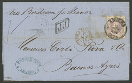 BELGIUM: 18/NO/1875 Anvers - Buenos Aires By French Mail, Entire Letter Franked By Sc.36 ALONE With Datestamp Of ANVERS  - Non Classés