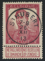 Belgium 1912 Pellens 5fr Lake (COB 122) Used With Complete ST HUBERT Postmark, Exceptional Aspect And Quality - 1912 Pellens