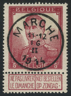 Belgium 1912 Pellens 5fr Lake (COB 122) Used With Complete MARCHE Postmark, Exceptional Aspect And Quality - 1912 Pellens