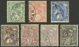 ETHIOPIA: Sc.1/7, 1895 Menelik II And Lion Of Judah, Cmpl. Set Of 7 Used Values, Excellent Quality! - Ethiopia