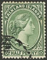 FALKLAND ISLANDS/MALVINAS: Sc.9, 1891 ½p. Green, Used, VF Quality! - Falkland Islands