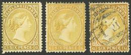 FALKLAND ISLANDS/MALVINAS: Sc.16 + 16a, 1891/1902 6p. Yellow (2 Different, Mint) And Orange (used), VF Quality - Falkland Islands