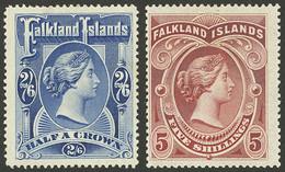 FALKLAND ISLANDS/MALVINAS: Sc.20/21 (Yvert 16/17), 1898 Victoria Cmpl. Set Of 2 Values, Mint Lightly Hinged, Excellent Q - Falkland Islands