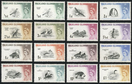 FALKLAND ISLANDS/MALVINAS: Yvert 122/136, 1960/6 Birds, Complete Set Of 15 Mint Values, Fine Quality, Good Opportunity! - Falkland Islands