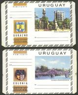 URUGUAY: 2 Modern Aerograms, Very Thematic, Excellent Quality! - Uruguay
