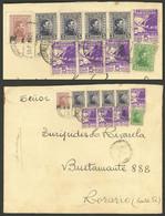 URUGUAY: 14/FE/1944 Montevideo - Rosario (Argentina), Cover With Attractive Postage Including 4 Stamps Of 5c. FUERA DE H - Uruguay
