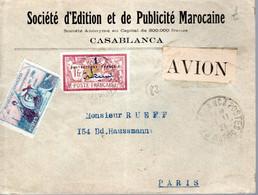 LETTRE VOL AERIEN 1921 - AFFRANCHISSEMENT TYPE MERSON SURCHARGE PROTECTORAT FRANCAIS - - Posta Aerea