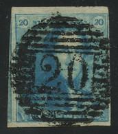 "Belgium 1849 Epaulettes 20c Blue Used With Perception Cancel ""20"" (BOUILLON), Full To Huge Margins, Very Good Quality - 1849 Epaulettes"