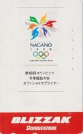 TC JAPON / 110-016 - SPORT - JEUX OLYMPIQUES NAGANO ** BLIZZAK Bridgestone ** - OLYMPIC GAMES JAPAN Phonecard - Olympic Games