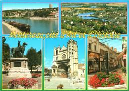 CPM 77 (Seine-et-Marne) Montereau-Fault-Yonne - Multivues TBE Péniche, Commerces, Statue De Napoléon, Bords De Seine ... - Montereau
