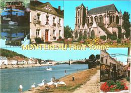 CPM 77 (Seine-et-Marne) Montereau-Fault-Yonne - Multivues TBE Péniche, Commerces, Hôtel-de-ville, Oies, ... - Montereau