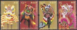 2021 HONG KONG Cultural Heritage - Dragon And Lion Dance STAMP 4V - Ungebraucht