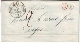Cachet TYPE 11 RIEZ Basses Alpes BOITE RURALE F IDENTIFIEE !!! Lettre Avec Texte Complet , TTB++++ 24 Sept 1840 - 1849-1876: Classic Period