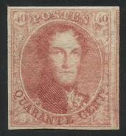 "Belgium 1849 Medaillons Wtm. ""framed LL"" 40c Rose-carmine MLH * Original Gum, EXCEPTIONAL QUALITY, COB 5A, Cat. €4,500 - 1849-1850 Medallions (3/5)"