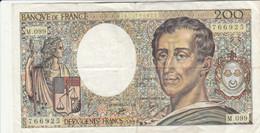BANCONOTA FRANCIA DE MONTESQUIEU 200 VF (HB416 - 200 F 1981-1994 ''Montesquieu''