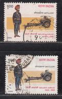 EFO, 2 Diff., Colour / Shift Variety, India Used 1987, Regiment Of Artillery, Defence, Army, Militaria - Abarten Und Kuriositäten