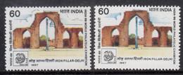 EFO, 2 Diff., Colour / Shift Variety, India MNH 1987 Iron Pillar, Landmarks, Monument, Mineral, Architecture - Abarten Und Kuriositäten