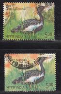 EFO, 2 Diff., Colour / Shift Variety, India Used 2006, Endangered Birds, Bird, Lesser Florican - Abarten Und Kuriositäten