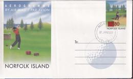 Norfolk Island 2000 Aerogramme  Ovpt Used - Norfolk Island