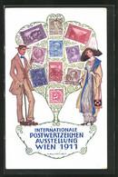 Künstler-AK H. Kalmsteiner: Wien, Internatiomnale Postwertzeichen-Ausstellung 1911, Paar Am Briefmarkenbaum - Stamps (pictures)