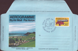Norfolk Island 1982 Aerogramme 36c First Day Cancel - Norfolk Island