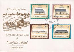 Norfolk Island 1973 Buildings Sc 159,165,167,171 FDC - Norfolk Island