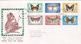 Norfolk Island 1976-77 Butterflies Sc 201,205,206,208,210,216 FDC - Norfolk Island