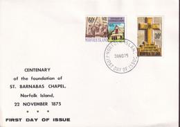 Norfolk Island 1975 Chapel Sc 190-91 FDC - Norfolk Island