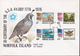 Norfolk Island 1976 USA Bicentenary Sc 194-97 FDC - Norfolk Island