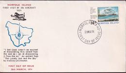 Norfolk Island 1974 Gypsy Moth Sc 174 FDC - Norfolk Island
