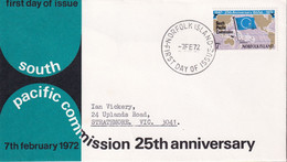 Norfolk Island 1972 Pacific Commission Sc 149 FDC - Norfolk Island