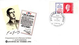 """"""" JDT 1994 / MARIANNE DE DULAC / DE GAULLE """" Sur Enveloppe 1er Jour De 1994 N° YT 2864. Parfait état. FDC - De Gaulle (Generale)"""