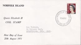 Norfolk Island 1971 6c QEII Coil Sc 118A FDC - Norfolk Island