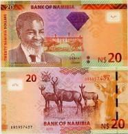 NAMIBIA       20 Dollars       P-12b       2013       UNC - Namibia
