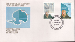 "Australian Antarctic Territory 1982 'Mawson Base Cancel"" Sc L53-54 FDC - Covers & Documents"