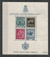 Romania 1939 Carol I Centenary S/S Y.T. BF 5  * - Blocks & Kleinbögen