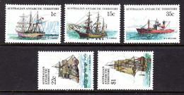 AUSTRALIAN ANTARCTIC TERRITORY AAT - 1980 SHIPS 2ND SERIES ADDITIONAL VALUES (5V) FINE MNH ** SG 37, 41, 44, 47, 52 - Unused Stamps