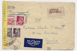 ALGERIE BLASON 1FR50+4FR50X2 +1FR LETTRE AVION REC C.HEX PERLE CONSTANTINE 24.2.1944 POUR SUISSE + CENSURE OUVERT TC 323 - Storia Postale