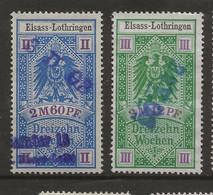 FISCAUX  FRANCE SOCIO-POSTAUX D'ALSACE LORAINNE N°13  2M60 Bleu Et N°14 3M12 Vert - Fiscales