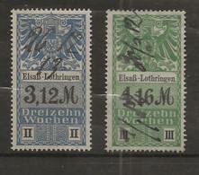 FISCAUX  FRANCE SOCIO-POSTAUX D'ALSACE LORAINNE N°30  3M12 Bleu Et N°31 4M16 Vert - Fiscales