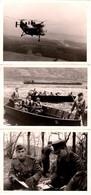 3 Photos Originales Militaires Allemands De La Heer & Hélicoptères Piasecki H-21, Péniche, Canots & Bivouac En 1964 - Guerre, Militaire