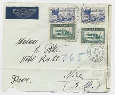 MAROC 90CX2+10CX2 LETTRE COVER AVION TANGER 25.12.1939  POUR GENEVE  SUISSE CENSURE NOIRE  OUVERT YA 603 - Cartas