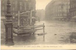 CPA - INONDATIONS DE PARIS - GARE SAINT LAZARE - Paris Flood, 1910