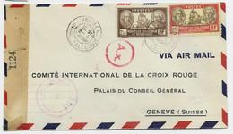 NOUVELLE CALEDONIE 20FR+2FR50 LETTRE COVER AVION NOUMEA 3.4.1944 POUR CROIX ROUGE GENEVE + CENSURE ALLIES 3 - Covers & Documents